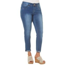 Royalty by YMI Womens Faded Double Button Denim Jeans