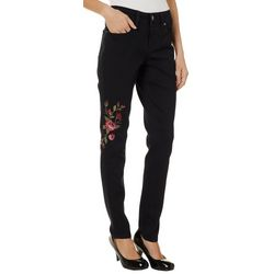 Royalty by YMI Womens Embroidered Floral Skinny Jeans
