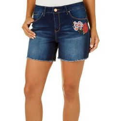 Royalty by YMI Womens Embroidered Floral Faded Denim Shorts