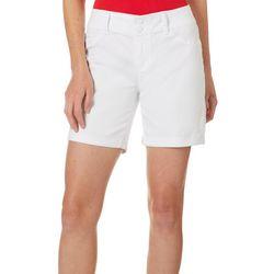 Royalty by YMI Womens Roll Cuff Tummy Control Denim Shorts