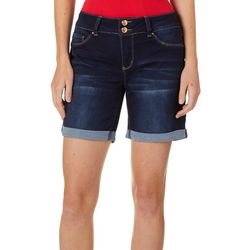 Royalty by YMI Womens Roll Cuff Tummy Control Denim Shorts