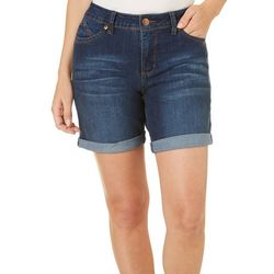 Royalty by YMI Womens WannaBettaButt Roll Cuff Denim Shorts