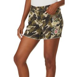 Royalty by YMI Womens Camouflage Floral Embroidered Shorts