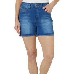 Royalty by YMI Womens Double Button Roll Cuff Denim Shorts