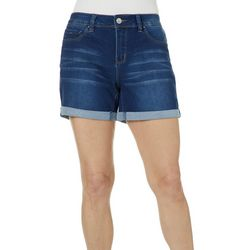 Royalty by YMI Womens Roll Cuff Denim Shorts