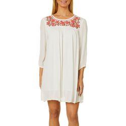 En Creme Womens Floral Embroidered Dress