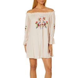 En Creme Womens Floral Embroidered Off The Shoulder Dress