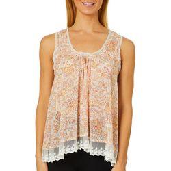 En Creme Womens Floral Mesh Lace Trim Sleeveless Top