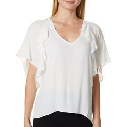 En Creme Womens Solid Ruffle Sleeve V-Neck Top
