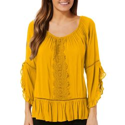 Fever Womens Ruffled Crochet Babydoll Top