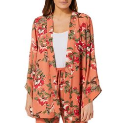 Fever Womens Floral Print Bell Sleeve Kimono