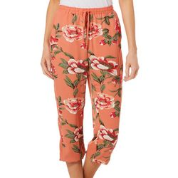 Fever Womens Floral Print Pull On Ankle Pants