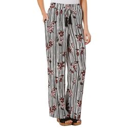 Fever Womens Floral Striped Pull On Pants