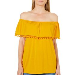 Fever Womens Pom Pom Ruffled Off The Shoulder Top