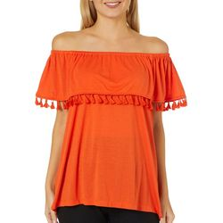 Fever Womens Tassel Trim Off The Shoulder Top