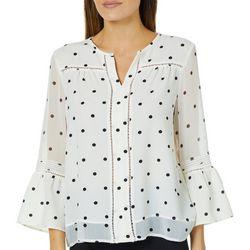 Fever Womens Dot Print Bell Sleeve Top