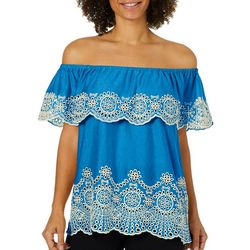 Fever Womens Eyelet Ruffled Off The Shoulder Top