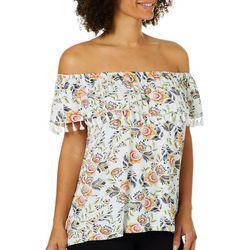 Fever Womens Floral Tassel Off The Shoulder Top