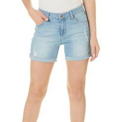 Truth & Theory Womens Distressed Roll Cuff Denim Shorts