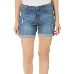 Truth & Theory Womens Distressed Roll Cuff Denim Shorts