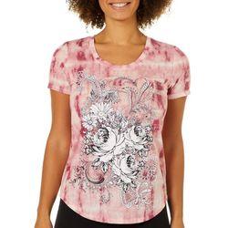 Mic & Jax Womens Floral Tie Dye Short Sleeve Top