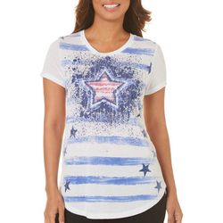 Mic & Jax Womens Stars & Stripes Short Sleeve Top