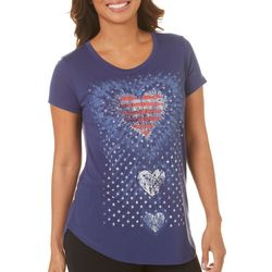Mic & Jax Womens Americana Heart Short Sleeve Top