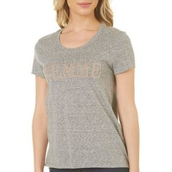 Carbon Copy Womens Embellished Femme T-Shirt