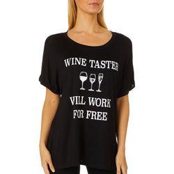 Mic & Jax Womens Wine Taster Will Work For Free Top