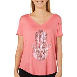 Mic & Jax Womens Hamsa Graphic Short Sleeve Top