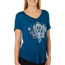 Mic & Jax Womens Lotus Graphic Short Sleeve Top