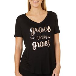 Mic & Jax Womens Grace Upon Grace Graphic Short Sleeve Top