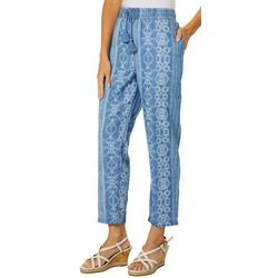 Vintage America Womens Chambray Ikat Print Drawstring Pants