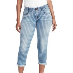 Vintage America Womens Striped Roll Cuff Ankle Jeans