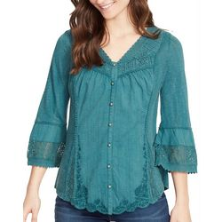 Vintage America Womens Solid Embroidered Bell Sleeve Top