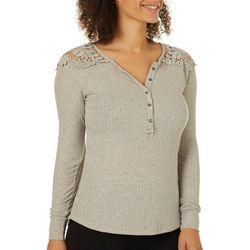Vintage America Womens Dinah Heathered Crochet Top