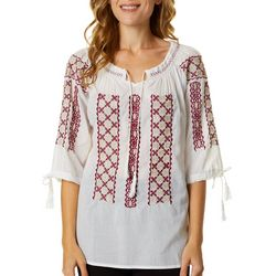 64 Sixty Five Womens Woven Embroidered Smocked Peasant Top