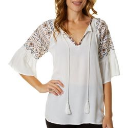 64 Sixty Five Womens Embroidered Keyhole Top