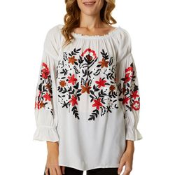 64 Sixty Five Womens Floral Embroidered Smocked Peasant Top