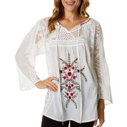 64 Sixty Five Womens Embroidered Crochet Top