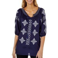 64 Sixty Five Womens Embroidered Top