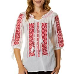 64 Sixty Five Womens Embroidered Smocked Peasant Top