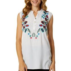 64 Sixty Five Womens Floral Embroidered Sleeveless Top