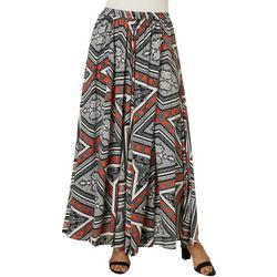 64 Sixty Five Womens Mixed Print Maxi Skirt