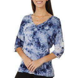 Tru Self Womens Lattice Sleeve Tie Dye V-Neck Top