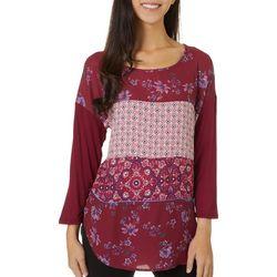 Tru Self Womens Mixed Media Floral Long Sleeve Top