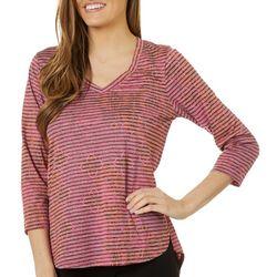 Tru Self Womens Mixed Floral Stripe Long Sleeve Top