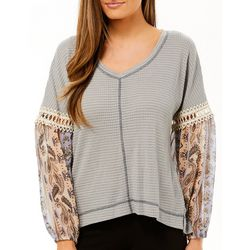 Tru Self Womens Waffle Texture Paisley Panel Sleeve Top