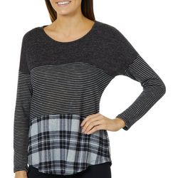 Tru Self Womens Mixed Plaid Crochet Back Top
