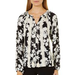Tru Self Womens Floral Crochet Tassel Top